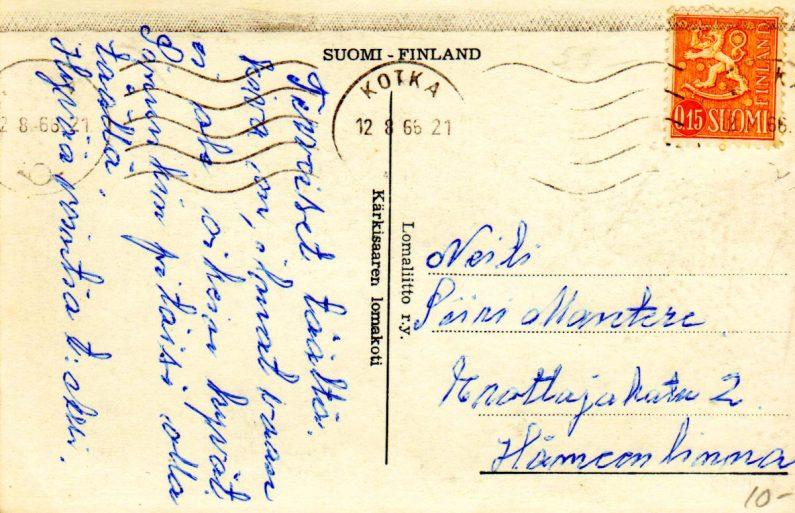 Kärkisaaresta lähetetty postikortti vuodelta 1966.