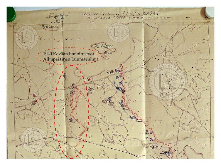 Luumäenlinjan työt, kevät 1940. Ennen Salpalinjaa.